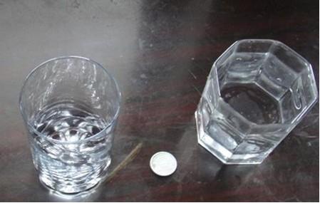 实验步骤:  首先,将硬币放在桌面上,然后给玻璃杯里装半杯水,将玻璃杯